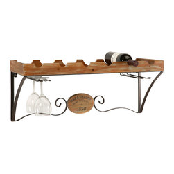 Napa Valley Wine Shelf - This traditional wine shelf gives any room a sense of Tuscany. It holds six bottles of wine as well as four wine glasses.