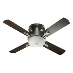 """Quorum International - Davenport Hugger Ceiling Fan by Quorum International - The Quorum Davenport Hugger Ceiling Fan features a clean, streamlined profile and a choice of three distinctive finishes combinations. Features 4 reversible blades with a diameter of 52"""" and a 13.5 degree pitch. Includes a 4-speed wall control that also controls the integrated downlight; this fan is reversible through a manual switch. Great for living rooms, entryways, lofts.  Unique products for unique customers. That's what Quorum International has been creating since 1981. From their headquarters in Fort Worth, Texas, Quorum designs ceiling fans and lighting fixtures in a wide range of styles to meet a wide range of discerning tastes. The high quality of these pieces ensures that their beauty will last for many years to come.The Quorum Davenport Hugger Ceiling is available with the following:Details:Glass downlight shade4 bladesIncludes light/speed wall control52"""" blade diameter13.5 degree blade pitchReversible blades4 fan speedsReversible, with manual reverse switchLifetime motor warrantyOptions:Finish, Blade and Glass: Antique Silver with Antique Silver-Walnut and Satin Opal (shown), Old World with Old World-Walnut and Amber Scavo, or Studio White with Studio White and Satin Opal.Lighting: Three 40 Watt 120 Volt Candelabra Base Incandescent lamps (included).Shipping:This brand usually ships within 3-5 business days."""