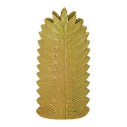 Benzara - Modern Style Yellow Green Colored Ceramic Vase Home Decor - Description: