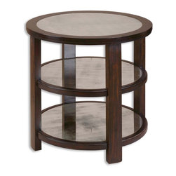 Antiqued Mirror Round Accent Lamp Table - *Dark rubbed aubergine finish on solid poplar with antiqued mirror display surfaces.
