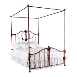 Corsican - Custom Savannah Red Bed-Canopy in Vintage Red Finish, King - Corsican has been in business over 40 years. Their entire focus is making wrought iron furniture. Many of their skilled craftsman are second generation.