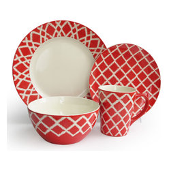Jay Import Co - Plaid Red 16 Piece Dinnerware Set - Check out this dynamic dinnerware! A red and white riff on traditional plaid, this 16-piece set (full service for four) will add pop to your table and rev up your everyday meals.