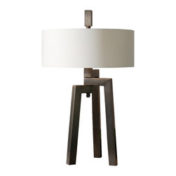 Uttermost - Uttermost Mondovi Modern Table Lamp - Mondovi Modern Table Lamp by Uttermost Hand Forged Metal Finished In An Antiqued Plated Brushed Bronze With Gold Undertones. The Round Hardback Drum Shade Is A White Linen Fabric.