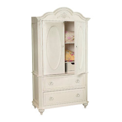 LC Kids - Enchantment Door Chest/Media Cabinet w 2 Drawers in Antique Off-White Finish - Fabulously feminine, the Enchantment door chest is fit for a queen.  Charming Victorian-inspired design features outstanding visual details like a gracefully scalloped top and intricate floral carved accents. Whether you use it to store clothes or linens or as a media cabinet, there's plenty of room inside the spacious interior.  Two lower pull-out drawers feature automatic stops for added safety. Enchantment Collection. Assembly required. Solid hardwoods and hardwood composites. Drawer stops in every drawer. Rounded & smooth corners & edges. Safety anchors provided. All wood drawer construction. Floral accents. Framed d. 73 in. H x 41 in. W x 20 in. D (224 lbs). Can be used as a TV armoire or wardrobe armoire. One adjustable shelf, one open cubby, and one pull-out drawer inside. TV space measures 35 in. W x 15 in. D x 30 in. H. One video game drawer in base with drop-down front and cord holes. One storage drawer in base. French dovetail front joints. Some assembly required