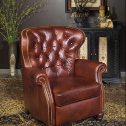 Leather Recliner Chairs - This brown leather button back chair is a traditional favorite.  The double row of nail trim that follows the outline of the top gives this leather recliner a more updated look.  Hand turned wood feet are decorative and blend perfect with the chosen leather.