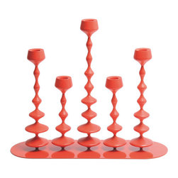 Y'A PAS LE FEU AU LAC - Les Perles XXL - Red - The Jura Mountains, where the Y'A PAS collection is manufactured, is known for its traditional wooden toys. FX BALLÉRY has created candle holders mimicking simple and childlike pleasure of stringing beads. Composed of four different shapes, each in duplicate, LES PERLES offers the possibility to create and modify the composition, creating an interactive and playful set of candle holders.
