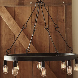 Jasper Filament Bulb Chandelier - This chandelier with exposed bulbs would be perfect for a rustic farmhouse space.