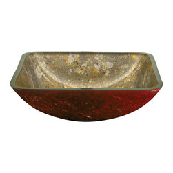 YOSEMITE HOME DECOR - Gold Square Glass Basin - Square creamy golden bowl with red undertone