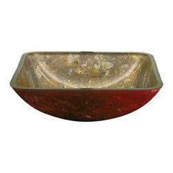Yosemite Home Decor - Gold Square Glass Basin - Square creamy golden bowl with red undertone
