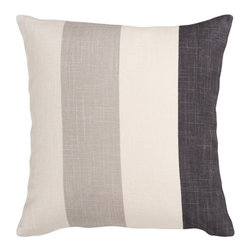 Simple Stripe, Gray Multi, 18x18 Pillow - This cool-toned pillow includes four stripes, giving a basic and calming vibe to a contemporary design. The simple print allows this pillow to easily fit in with any room scheme.