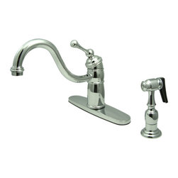 Kingston Brass - Single Handle Kitchen Faucet With Brass Sprayer - Victorian style Single Handle Deck Mount,2 or 4 hole Sink application,includes Solid Brass Spray,Faucet is Fabricated from solid brass material for durability and reliability, Premium color finish resist tarnishing and corrosion, 360 degree turn swivel spout, Stainless Steel ball, Joystick type control mechanism, Flexible supply lines with 1/2in. - 14 NPS male threaded inlets, 2.2 GPM (8.3 LPM) Max at 60 PSI, Integrated removable aerator, 9-1/8in. spout reach from faucet body, 9-1/4in. overall height, Ten Year Limited Warranty to the original consumer to be free from defects in material and finish.