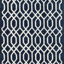 "Loloi Rugs - Loloi Rugs Brighton Collection - Navy, 9'-3"" x 13' - There are geometric rugs and then there is the striking Brighton Collection, which sets a new standard for geometric style. Hand-tufted in India, 100% wool yarns are hand-dipped into rich dye lots, producing lively colors that pair fabulously with its playful patterns. Brighton also combines a cut and loop pile, creating a mix of heights and textures for added visual interest. Available in 12 playful designs."