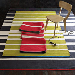 Gradiated-Stripe Cotton Rug - Classic stripes in three different colors with an accent trim? I'm sold.