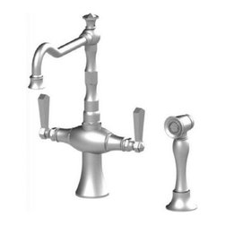 Rubinet - Rubinet 8CHXLBB Dual Handle Kitchen Faucet W/ Hand Spray & Lever Handle Bright B - Rubinet 8CHXLBB Hexis Bright Brass Dual Handle Kitchen Faucet W/ Hand Spray & Lever Handle