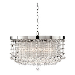 """Uttermost - Contemporary Fascination Collection Hanging Shade Crystal Pendant - This Fascination Collection mini-pendant updates the classic appeal of crystal for today's sophisticated tastes. It features a chrome-plated rim adorned by pure lead crystals. Chrome-plated finish. Pure lead crystals. 21"""" wide. 14"""" high. Takes three 60 watt bulbs (not included). Canopy measures 5"""" wide. 10 lbs. hanging weight.  Chrome-plated finish.   Pure lead crystals.   Takes three 60 watt bulbs (not included).   21"""" wide.   14"""" high.  Canopy measures 5"""" wide.  10 lbs. hanging weight."""