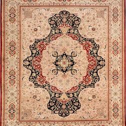 "ALRUG - Handmade Red/Rust Persian Kirman Rug 8' 1"" x 10' (ft) - This Pakistani Kirman design rug is hand-knotted with Wool on Cotton."