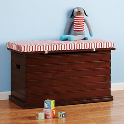 Beat Our Chest Toy Chest - The Beat Our Chest toy chest provides a stylish option for kids to relax on as well as a storage solution for toys. The handsome wood looks grown-up, while the striped cushion (sold separately) adds some fun and flair.