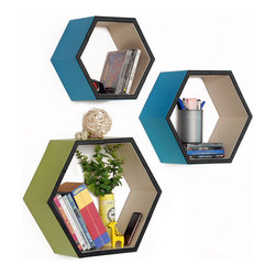 Blancho Bedding - Singing In The Clouds Hexagon Leather Wall Shelf / Floating Shelf  Set of 3 - These beautifully Hexagonal Shaped Wall Shelves display the art of woodworking and add a refreshing element to your home. Versatile in design, these leather wall shelves come in various colors and patterns. These elegant pieces of wall decor can be used for various purposes. It is ideal for displaying keepsakes, books, CDs, photo frames and so much more. Install as shown or you may separate the shelves to create a layout that suits your taste and your style. They spice up your home's decor, and create a multifunctional storage unit for all around your home.  Each box serves as a practical shelf, as well as a great wall decoration.