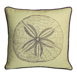 Kevin O'Brien Studio - Nautical Sand Dollar Pillow, Aquarium - Our brightly colored nautical prints are screen printed onto 100% linen; piped edging; zip closure; feather/down insert included; designed in Philadelphia and made in Nepal