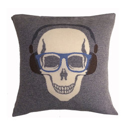 Rani Arabella - Rani Arabella Gray Skull Headphones Cashmere Blend Pillow - Add a bold, quirky print to your living or dining room using the Skull Headphones Cashmere Blend Pillow. Made from 70% cashmere and 30% wool, this pillow features a white skull image with glasses and headphones against a gray background. Pair it with neutral-toned decor for a cohesive, but eye-catching look. Includes a 50% down and 50% polyester insert. Dry clean only. Made in Italy.