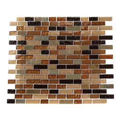 "Golden Road Blend Bricks Marble & Glass Mosaic Tile - GOLDEN ROAD BLEND BRICKS 1/2"" X 2"" GLASS TILES This striking glass and stone mosaic is made from natural marble and recycled glass pieces. With the combination of the honey onyx stone, the peach and caramel colored glass with a wavy polish finish, the beige glass and the clear metallic gold creates an elegant backsplash for a kitchen or a fireplace. Chip Size: 1/2"" x 1/2"" & 1/2"" x Random Color: Metallic Copper, Peach, Cream, Chocolate Material: Onyx Stone, Glass Finish: Polish, Wavy and Textured Sold by the Sheet - each sheet measures 12"" x 13"" (1.08 sq. ft.) Thickness: 8mm"