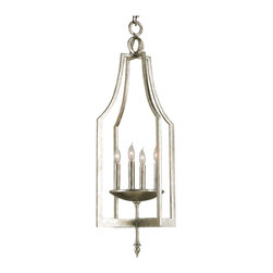Kathy Kuo Home - Contemporary Petite Silver 4 Light Hallway Pendant Chandelier - We love a good open frame lantern, and this silver finished, iron lantern delivers a fresh take on this classic design.   With four candles lights at the center, this modern interpretation of a traditional form will be right at home with other bright young things.