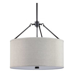 Sea Gull Lighting - Sea Gull Lighting 65271 Brayden Three Light Shade Pendant - This pendant from the Brayden Collection is a simple drum shaped fabric shade that attaches to the center structure with three hook-tipped metal rods.Features: