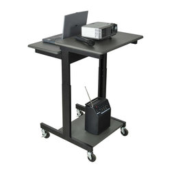 Luxor Furniture - Adjustable Mobile Computer Workstation in Bla - Includes 3 in. casters. Two casters with locking brake. Removable keyboard tray. Perfect for desktop or laptop computer. Powder coat painted steel frame. Made from wood laminate work surface. 31 in. L x 24 in. W x 39 - 45 in. H. Warranty. Instructions Manual