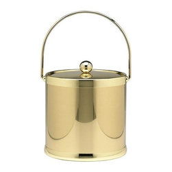 Kraftware - Americano 3-qt. Ice Bucket w Metal Cover in Shiny Brass - Bale handle. Made in USA. 9 in. Dia. x 9 in. H (3 lbs.)The Grant Signature Home Collection's Americano Collection is the only Real Metal Collection in the U.S.A. This is real home entertaining quality at affordable prices.