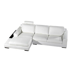 VIG Furniture - Soho White Top Grain Leather Sectional Sofa - The Soho sectional sofa will be the perfect addition for any smaller area looking for a touch of modern design. This sectional comes upholstered in a beautiful white top grain leather in the front where your body touches. Skillfully chosen match material is used on the back and sides where contact is minimal. High density foam is placed within the cushions for added comfort. The sectional features a extended chaise with a ledge that can be used for snacks and drinks.