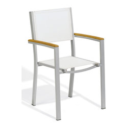 """Oxford Garden - Travira Arm Chair in Natural Sling - Set of 4 - A modern look with classic styling. Powder coated aluminum frame with teak seat and back. Combine with our Travira teak tables. The powder coated aluminum frame creates a sturdy and yet light chair. Beautifully made teak seat is both stylish and comfortable.; Powder coated aluminum adds durability and resists weathering; Composite sling fabric is comfortable, resists stains and weathering; Arrives fully assembled; No Assembly Required; Country of Origin: China; 1 year Warranty; Weight: 14 lbs; Dimensions: 33.5""""H x 22""""W x 21.5""""D"""