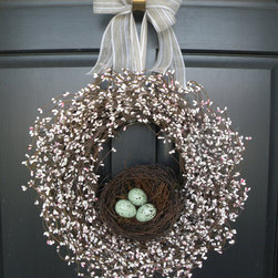 Robin's Egg Nest Berry Wreath By Daulhouse Shop - I love the robin's eggs in the nest on this wreath.