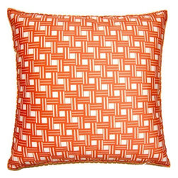 shopMACK - Labyrinth Pillow, Orange, 26x26 - Get lost in the intricate maze pattern of our labyrinth pillow. This faux suede polyester pillow is ultra soft and adds a hint of texture to your space. Available in orange and green, The Labyrinth has a zipper closure and comes complete with a feather/down insert. Made to order in the USA, please allow three weeks.