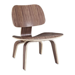 Modway - Fathom Lounge Chair in Walnut - Designed to comfortably fit the body, the sculpted form of the molded plywood chairs are produced using thin sheets of lightweight veneer gently molded into curved shapes with natural rubber shock mounts to absorb movement. Since then, the chairs' aesthetic integrity, enduring charm, and comfort have earned it recognition as the best of modern design.