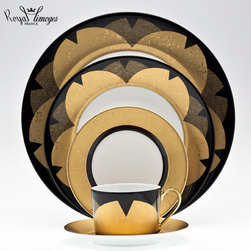 Royal Limoges Kinzakura Dinnerware - Royal Limoges' Kinzakura dinnerware features a pattern with subtlety in black and gold created by Kenzo Takada. Five-piece place setting includes dinner plate, dessert plate, bread/butter plate, teacup, and saucer.