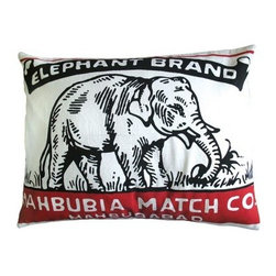 Koko Company Match Elephant Brand Pillow Sham - Think of the Koko Company Match Elephant Brand Decorative Pillow as that perfect spark for your decor. After all the red and black color scheme is modeled after antique Indian matchboxes and this particular design features a friendly elephant who's happy to add a little exotic allure to your sofa or bed setup. The cover is made of cotton and is even machine washable. You'll just need to use the gentle cycle and a cold water temperature.About The Koko CompanyFor over 10 years The Koko Company has been pouring heart and soul into bringing you a vibrant diverse collection of pieces to suit your unique style. From pillows and bedding to rugs and throws every piece is both versatile and distinctive each playing its own part in a grander global vision. Located in Long Island City NY but influenced and inspired by an array of cultures and fashions The Koko Company strives to bring the subtle elegance of natural fibers and organic design to your home accents.