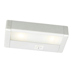 """WAC - WAC LED 8"""" Wide Satin Nickel Under Cabinet Light Bar - Bring out the best in your decor with this versatile LED light bar from WAC. Perfect for cabinets curios and kitchen counters this fixture contains energy efficient LED bulbs with a life of up to 50000 hours. It is also thermally efficient allowing use with heat-and UV-sensitive artwork clothing and decor items. Satin Nickel finish. Includes two LEDs. Output of 127 lumens. Energy efficient. 8"""" wide. 1 1/8"""" high. 2 3/4"""" deep.  Satin nickel finish.  LED under cabinet light.  Output of 127 lumens.  Comparable to a 20 watt incandescent.  Includes two LEDs totals 3.6 Watts 2900K.  Energy efficient.  Aluminum construction-Acrylic lens.  By WAC lighting.  2-3/4"""" wide.  1 """" high.  8"""" length.  1"""" Inner connector and mounting hardware included.  Interconnection accessories available.  Not dimmable.  Built in driver."""