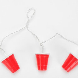 Red Cup String Lights - You might be serving drinks in plastic cups, so why not light up the patio with these plastic cup string lights?