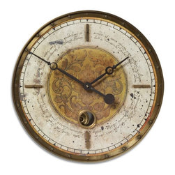 Uttermost - Vintage Manuscript Clock with Internal Pendulum and Brass Finishings-18 in. - Leonardo  Cream  Script  Pendulum  Clock          Vintage  look  clock  with  cream-colored,  weathered,  laminated  clock  face.  Features  brass  outer  rim  and  cast  brass  center  components.  Internal  pendulum.  Requires  1-AA  battery.