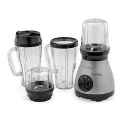 Focus Electrics - BB Blender Express Plus 6Pieces Set - Back to Basics Blender Express Plus. This machine can blend chop grind and whip using the blend and store 12 or 18 oz. containers or 24 oz. mug 2 blade bases 1 quatrocorss blade and 1dualflat blade.