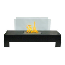 Anywhere Fireplace - Gramercy Freestanding Ventless Bio Ethanol Fireplace, Black - The elegance and clean design of the glass and black-coated Gramercy Anywhere Fireplace works in all settings, indoor or out. With no necessary installation, getting the fire started is as easy as adding fuel and clicking the lighter. No need for a vent or flue. This fireplace only emits water vapor and carbon dioxide. No Smell, No Smoke, No Fumes! Stepping off the hearth and out of the box, this ethanol burning fireplace is entirely portable, making it an easy installation and an even easier appliance. With the simple addition of bio-ethanol fuel, prepare to sit back and enjoy the warmth of real flames in just minutes.