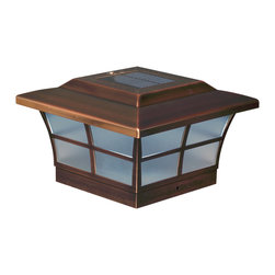 "Classy Caps Mfg. Inc. - 6"" X 6"" COPPER PLATED PRESTIGE SOLAR POST CAP - The Prestige solar post cap is available in traditional white or rich copper finish in a range of sizes.  Stylish and durable with performance you can depend on."