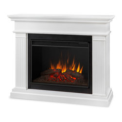 Real Flame - Kennedy Grand Electric Fireplace, White - - Lay-flat plug, grounded