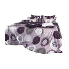 Blooming Home Decor - Modern Purple Gray Circle Pattern Duvet Cover Set  , Queen - This duvet cover set is 100% cotton with 820 thread count, wrapping you in luxurious fabric and design. With a stunning variety of purple hues, this bedding ensemble is fit for a princess, with white and black accents finishing off the artistic design. Flip the cover over for a purplish gray striped pattern, allowing you to have fancy or classic looking bedding in one simple package.