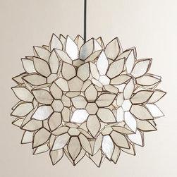 Large Capiz Lotus Hanging Pendant Lantern -