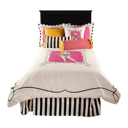 "Rizzy Home - Jealla White Full Size Kids Comforter Bed Set - Rachel Kate Girl ""Jealla"" brings a sassy youthful look to this kidz comforter set.  Jealla is framed in the center of the this white comforter with a hot pink background.  Then you add the black scrolled border around the comforter frames this bedding perfectly.  The standard shams has that same unique scrolled border with a hot pink coordinating center.  Then add the Rachel Kate Signature in the corner to complete this designer bed set!"