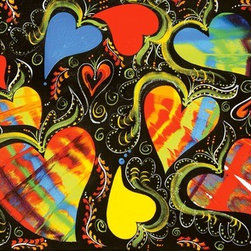 Love Dance (Original) by Suzan Waldinger - Vibrant tie-dye and solid hearts with black background finished with swirls of line detail.