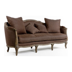 "Kathy Kuo Home - Rue Du Bac Barrel Brown Linen Back Three Seat Sofa - This wonderful curved back sofa is hand crafted of sturdy oak in a slightly distressed limed oak finish.  Upholstered in brown linen, this French inspired sofa lends vintage elegance to any living room.  Two 24"" and two 18"" linen toss pillow comes with this sofa.  Coordinating armchair and settee available as well.  Free white glove delivery included"