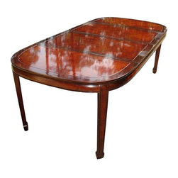 """Used Hollywood Regency Asian Style Dining Table - This stunning Asian inspired dining table was made by White Furniture Co. in the 1960s and the construction is still solid as a rock. With Ming style feet, it is easy glide and the extension leaves lock into place.     The length with one leaf is  64.25"""" and with two leaves is 86.5"""" so this table will accommodate all of your dining needs. Both of the leaves are in great condition, with only minor wear/tear. There are very minor surface scratches and discolorations due to scuffs to original finish but they're hardly noticeable."""