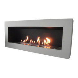 """aFire USA - Beaubourg  Electronic Ethanol Fireplace - Medium - This design is a perfect 16/9 ratio that makes use of our BL66 long ethanol burner (39.37""""). Its design aspect provides a look that is strong and Modern. aFire Fireplaces have self monitoring safety sensors with automated shut down procedures making them the safest ethanol fireplaces available. Our onboard electronics monitor our medical grade fuel pump to assure complete combustion assuring no toxic exhaust, soot, smoke or small are created. Crafted from high quality, heavy duty 304 grade stainless steel and powder coated steel framework, aFire Fireplaces deliver reliable performance every time...for a lifetime."""